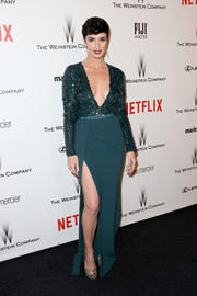 Paz Vega was all legs in a dual-textured green Elie Saab gown at the Weinstein Company and Netflix Golden Globes party.