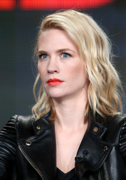 Love that bold red hue January Jones chose for her lips!