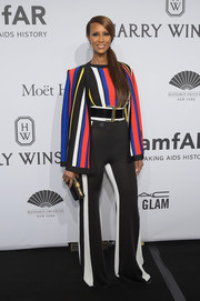 Iman oozed '70s-era funkiness at the amfAR New York Gala in a flared, multicolored Balmain pantsuit.