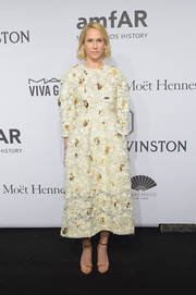 Indre Rockefeller donned a loose white cocktail dress with gold leaf appliques for the amfAR New York Gala.
