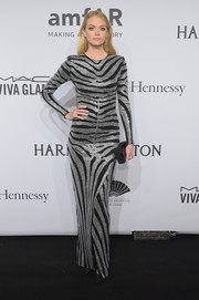 Lindsay Ellingson looked fiercely chic in a zebra-patterned, beaded gown by Balmain at the amfAR New York Gala.