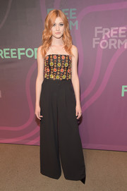 Katherine McNamara donned a heavily beaded tube top by Alice + Olivia for the ABC Freeform Upfront.