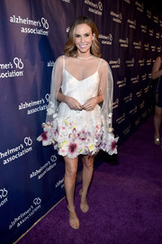 Keltie Knight was all abloom in this flower-appliqued sheer-overlay cocktail dress by Hayley Paige at the Alzheimer Association's A Night at Sardi's event.