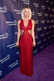 Kaley Cuoco sizzled in a deep-V red cutout gown by Naeem Khan at the Alzheimer Association's A Night at Sardi's event.