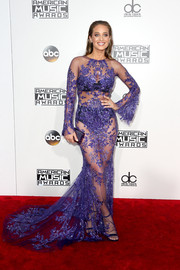 Hannah Davis sent temperatures rising with this sheer purple gown by Zuhair Murad Couture at the 2016 AMAs.