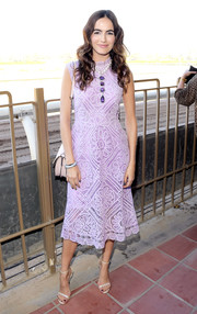 Camilla Belle looked fetching in a lavender lace midi dress by Martha Medeiros at the 2016 Breeders' Cup.