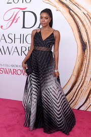 Gabrielle Union oozed ultra-modern elegance in this monochrome graphic-print gown by Lela Rose at the 2016 CFDA Fashion Awards.
