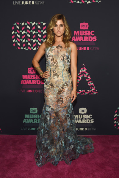 Cassadee Pope turned heads in a sheer, geisha-embroidered gown by Theia at the 2016 CMT Music Awards.
