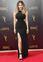 Katharine McPhee went for vampy glamour in a high-slit black cutout gown by Halston Heritage at the 2016 Creative Arts Emmy Awards.