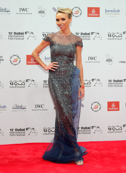Giuliana Rancic was a stunner at the Dubai International Film Festival in a sheer-panel blue Rami Al Ali gown with intricate silver beading.
