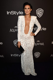 All eyes must have been on Rumer Willis when she wore this plunging white Michael Costello gown to the InStyle and Warner Bros. Golden Globes post-party.