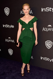 Jess Weixler styled her cute dress with bronze ankle-strap peep-toes by Armani.