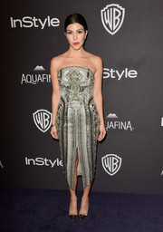 Kourtney Kardashian chose a strapless sequined and beaded tea-length dress by Julien Macdonald for the InStyle and Warner Bros. 73rd Annual Golden Globe Awards Post-Party