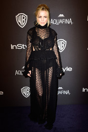 Melissa George worked the sheer trend in this dotted black gown with side cutouts at the InStyle and Warner Bros. Golden Globes post-party.