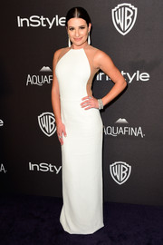 Lea Michele showed off her enviable physique in a white Michael Kors dress with mesh panels at the 2016 Golden Globes after parties.