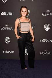 Camilla Luddington balanced out her sexy top with menswear-chic pants by Kimora Lee Simmons.