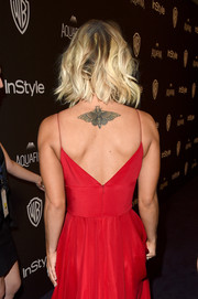 Kaley Cuoco showed off her new moth tattoo at the 2016 Golden Globes after parties. The actress got the new ink to cover up at tattoo of her wedding anniversary with ex-husband Ryan Sweeting.