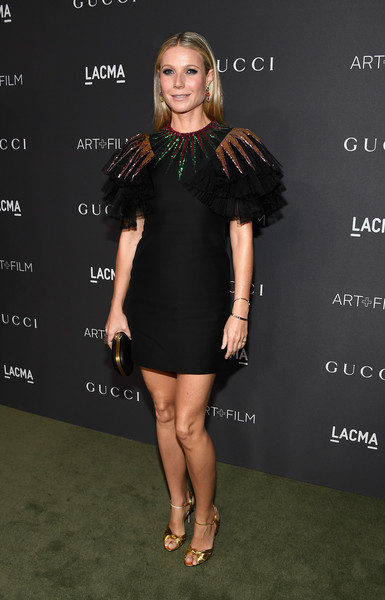 Gwyneth Paltrow in an embellished above-the-knee Gucci frock