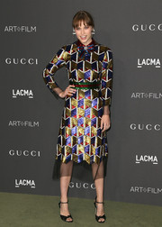 Makenzie Leigh looked party-ready in a multicolored geometric-sequined dress by Gucci at the 2016 LACMA Art + Film Gala.