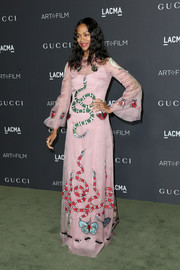 Zoe Saldana walked on the wild side in a fauna-embroidered gown by Gucci at the 2016 LACMA Art + Film Gala.