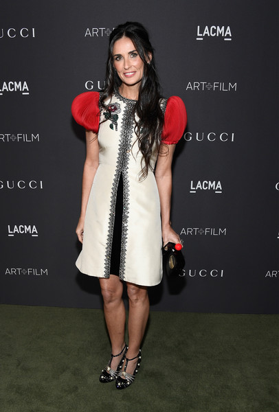 Demi Moore in an A-line Gucci dress