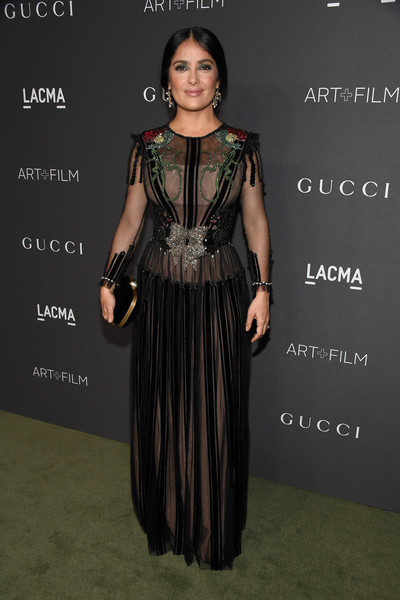 Salma Hayek in an embroidered Gucci dress