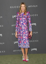 Kelly Lynch went for ultra-feminine appeal in a purple floral-embroidered frock at the 2016 LACMA Art + Film Gala.