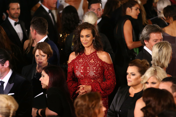 More Pics of Megan Gale Lace Dress (1 of 6) - Megan Gale Lookbook - StyleBistro [people,event,audience,fashion,crowd,flooring,dress,ceremony,formal wear,carpet,arrivals,megan gale,logie awards,crown palladium,melbourne,australia,58th annual logie awards]