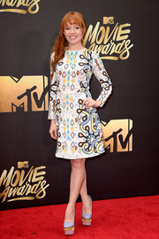 Stef Dawson went all out with the colors, teaming her dress with a pair of blue, yellow, and pink platform pumps.