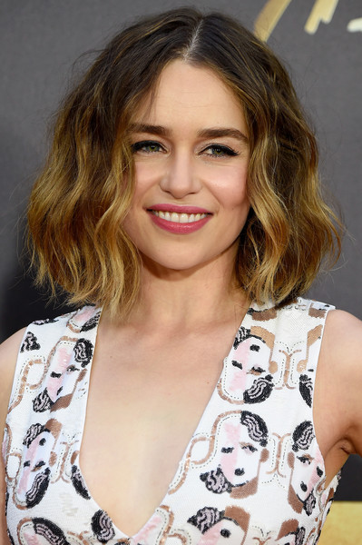 Emilia Clarke attended the MTV Movie Awards rocking a messy wavy cut.
