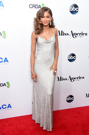 Zendaya Coleman glammed it up in a micro-beaded cowl-neck gown by Michael Kors at the Miss America competition.