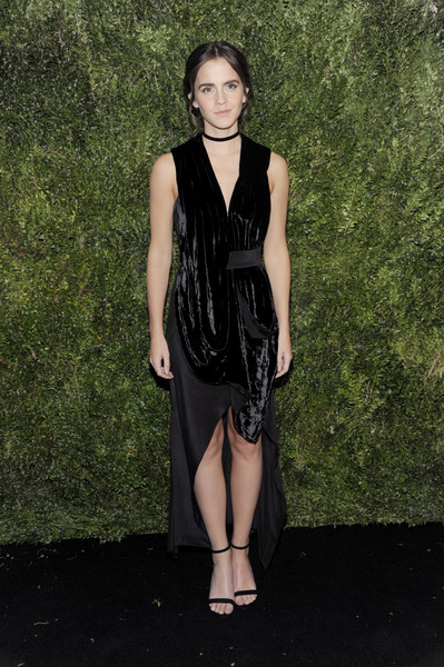 Emma Watson was edgy-glam in a draped, mixed-material LBD by KITX at the 2016 MoMA Film Benefit.