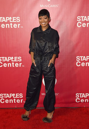 Keke Palmer was hip hop-chic in a baggy black jumpsuit by Moschino at the MusiCares Person of the Year event.