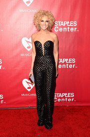 Kimberly Schlapman made a fab choice with this strapless quilted jumpsuit by Cristallini for the MusiCares Person of the Year event.