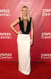 Ellie Goulding flashed some skin in a black-and-white sheer-panel column dress by Galvan x Bergdorf Goodman at the MusiCares Person of the Year event.
