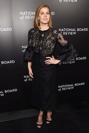 Amy Adams was a classic beauty in a black lace dress by Marchesa at the National Board of Review Gala.