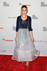 Underneath her transparent dress, Sarah Jessica Parker wore a navy bodysuit by Wolford.