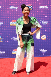 Yara Shahidi rocked a deconstructed-chic ombre pantsuit by Fyodor Golan at the Radio Disney Music Awards.