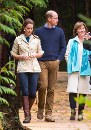 Kate Middleton was utilitarian-chic in a khaki safari jacket by Holland & Holland while touring the Great Bear Rainforest in Canada.