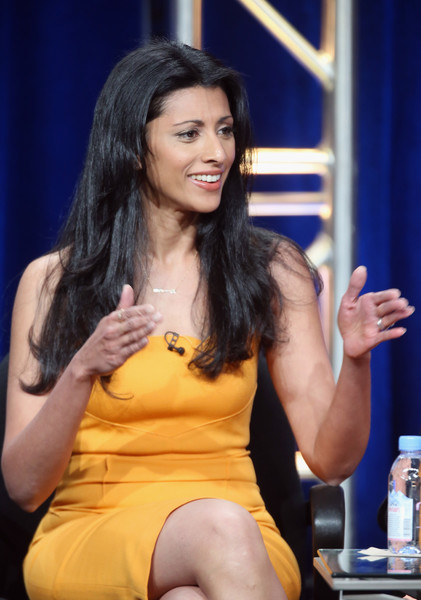 Reshma Shetty kept her jewlery simple yet elegant with a necklace, earrings, and rings by  Barbela Design at the 2016 Summer TCA Tour.