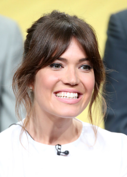 Mandy Moore opted for a loose bun with parted bangs when she attended the NBCUniversal Summer TCA Tour.
