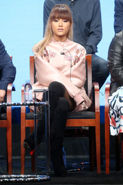 Ariana Grande kept cozy in cute style with a floral-embroidered pink bomber jacket by Stella McCartney at the NBCUniversal Summer TCA Tour.