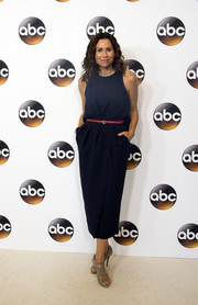 Minnie Driver opted for a simple blue midi dress cinched in with a red belt for the Disney ABC Summer TCA Tour.