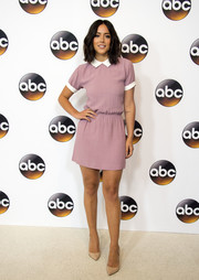 Chloe Bennet was a total cutie in a Christy Dawn mini dress, in dusty purple with a contrasting white collar, at the Disney ABC Summer TCA Tour.