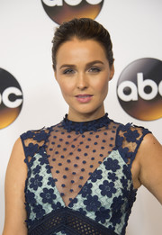 Camilla Luddington sported a simple brushed-back updo at the Disney ABC Summer TCA Tour.