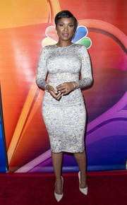 Jennifer Hudson flaunted her figure in a form-fitting print dress by Jonathan Cohen at the NBCUniversal Summer TCA Tour.
