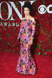 Sophie Okonedo was vibrant and chic in a floral off-the-shoulder gown by Zac Posen at the 2016 Tony Awards.