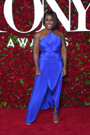 Uzo Aduba shone bright in an electric-blue halter gown at the 2016 Tony Awards.