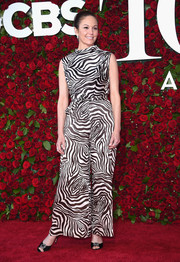 Diane Lane walked on the wild side in this wide-leg zebra-print jumpsuit at the 2016 Tony Awards.