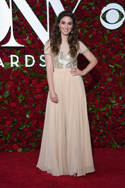 Sara Bareilles chose a nude Gomez-Gracia gown with a metallic bodice for the 2016 Tony Awards.